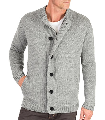 Wool Overs British Wool Men's Zip and Button Chunky Cardigan