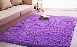 LAGHCAT Super Soft Modern Shag Area Rugs Purple Living Room Carpet Bedroom Rug Washable Rugs Solid Home Decorator Floor Rug and Carpets 4- feet by 5- feet