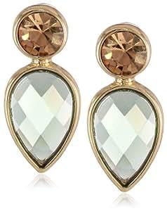 """Anne Klein """"Secret Garden"""" Gold-Tone Green Multi-Drop Earrings"""