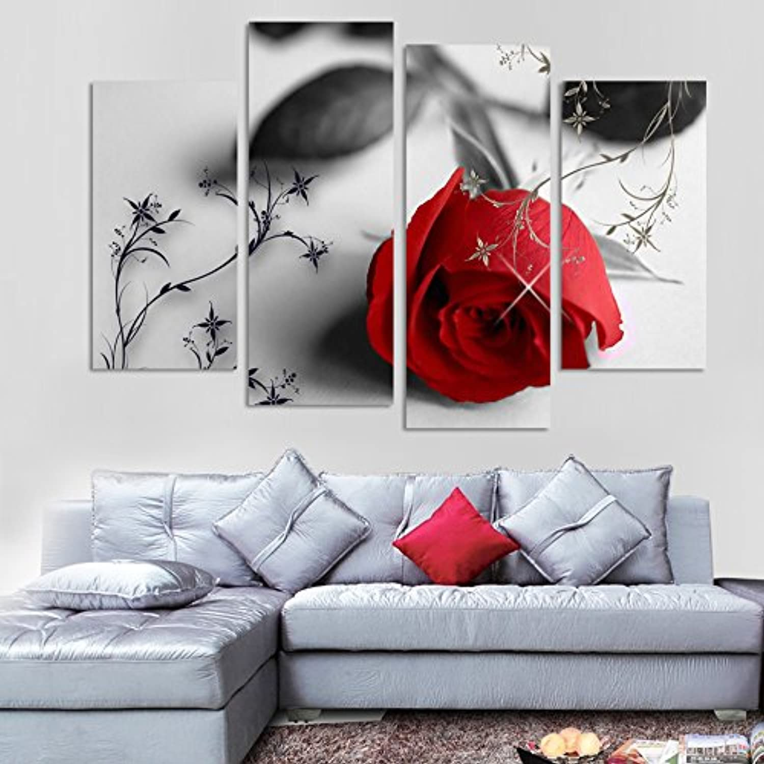 Wholesale 4 pcs hot sell red flowers wall art picture for Black and white rose wall mural