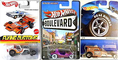 Hot Wheels Special Series Set Real Riders Altered Ego, Dune Daddy Buggy Show Rod & Custom Jeep '42 CJ-2A Buggy Flying Customs, HW Boulevard 2015 (Super Treasure Hunt Datsun compare prices)