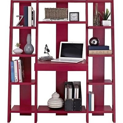 Ladder Bookcase with Desk Computer Laptop Work Office Design Home Furniture Red (Computer Desk Wall Unit compare prices)