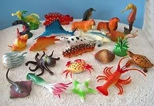 24er Set Seetiere Fische ca. 3-7cm Kunststoff