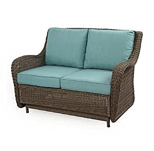 Outdoor patio wicker love seat cushion glider for Teal chairs for sale