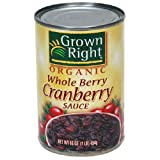 Grown Right Organic Whole Cranberry Sauce, 14-Ounce Can (Pack of 6)