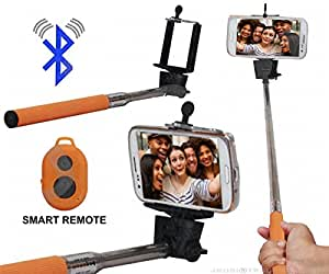 Selfie Stick Monopod With Bluetooth Remote Wireless Shutter Connectivity Compatible For Meizu MX6 -Brown