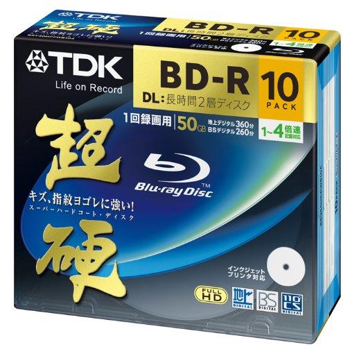 TDK 録画用ブルーレイディスク 超硬シリーズ BD-R DL 50GB 1-4倍速 ホワイトワイドプリンタブル 10枚パック 5mmスリムケース BRV50HCPWB10A