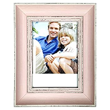 8 x 10 Inch Vintage Wood Weathered Look Easel Stand Photo Picture Frame - Pink