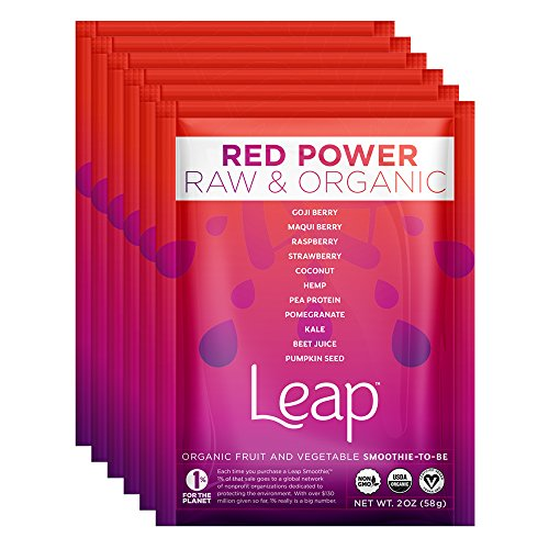 Leap Certified Organic Healthy Fruit & Vegetable Instant Smoothie Powder - Nutritious Raw Non-GMO Superfoods & Natural Vegan Veggie Mix - No Sugar Added - Whole 30 Approved - 6 Pack (Red Power) (Freeze Dried Beet Powder compare prices)