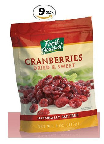 Fresh Gourmet Dried & Sweet Cranberries for Salads - 9 Pack
