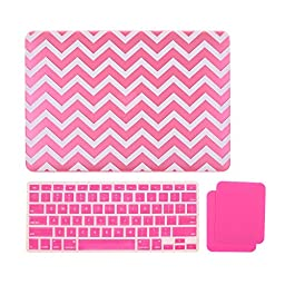 Cosmos ® Chevron Pattern Rubberized Plastic Hard Shell Cover Case with Silicone Palm Wrist Rest Pads Set and Silicone Keyboard Cover Skin for MacBook Air 13-Inch A1369 / A1466