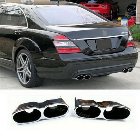 Auto Parts AMG Style Stainless Steel Twin Pipe Exhaust Muffler Tips Chrome 1Pair Fit For MERCEDES BENZ W221 S-Class S550,S600,S63,S65 2007 2008 2009 2010 2011 2012