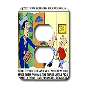 lsp_1383_6 Londons Times Funny Animals Cartoons - Three Little Pigs And Homeowners Insurance - Light Switch Covers - 2 plug outlet cover