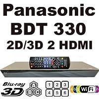 Panasonic BDT-330 2D/3D, Wi-Fi, 2K/4K, Dual HDMI Output, Spielt alle Standard-DVD-Region 0, 1, 2, 3, 4, 5, 6, 7, 8 und Region ABC Blu-ray Discs. 110-240V WorldWide Spannung - mit EU / UK-Netzstecker 2M HDMI Cable Included