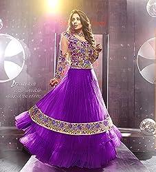 Shree Khodal Women's Purple Net Dress Material [SK_JCN1026]