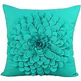 Puredown Canvas Cushion Covers Modern Sofa Pillow Covers Handmade Flowers 18X18?Inch Turquiose