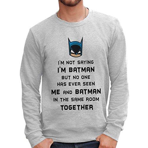 Felpa girocollo I'M BATMAN - FUNNY by MUSH Dress Your Style - Uomo-M-GRIGIO SPORT