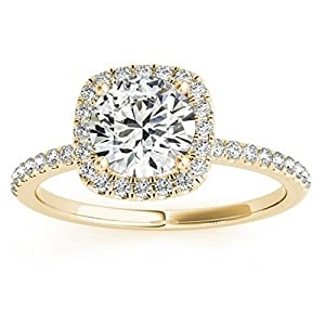 Prong Set, Square Shape Halo Diamond Engagement Ring Setting with Accents in 14k Yellow Gold 0.20ct