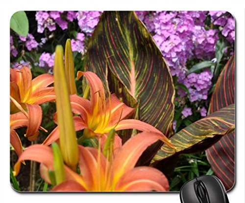 day-lilies-and-canna-tropicana-foliage-and-flowers-english-garden-mouse-pad-mousepad-flowers-mouse-p
