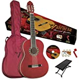 Saga Valencia VG-CG1KR Student Classical Guitar Outfit in High Gloss Red Finish