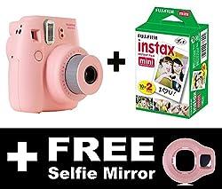 Fujifilm Instax Mini 8 Camera with 20 Shots + FREE Selfie Mirror (Pink)