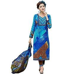Shelina Women Blue Cotton Printed Salwar Suit
