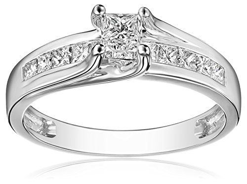 IGI Certified 14k White Gold Channel Set Diamond (1cttw, H-I Color, I1-I2 Clarity) All Princess Cuts..