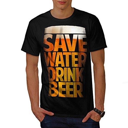 Salvare Acqua Bere Birra Uomo Nuovo Nero M T-Shirt | Wellcoda