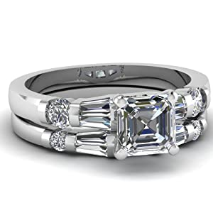 1.65 Ct Asscher Cut Diamond Engagement Wedding Rings Set SI2 GIA