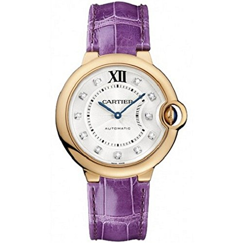 Cartier Unisex Ballon Bleu De Cartier Purple Leather Band Rose Gold Plated Case Automatic Watch WE902028