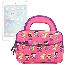 Evecase iPad Mini 4 / 3 / iPad Mini with Retina Display/ iPad Mini Sleeve, Cute Princess Themed Neoprene Travel Carrying Slim Sleeve Case Bag w/ Dual Handle and Accessory Pocket - Pink w/ Purple Trim