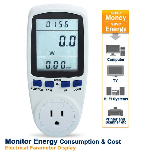Floureon LCD Display Plug Power Meter Energy Watt Voltage Amps Meter with Electricity Usage Monitor Reduce Your Energy Costs