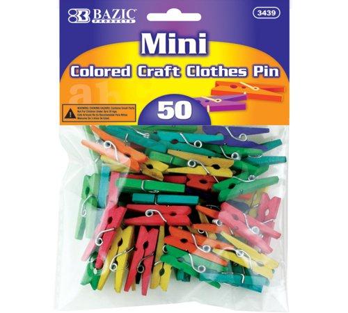BAZIC Mini Colored Clothespin, 50 Per Pack (3439-24P)