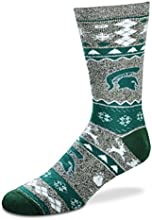 For Bare Feet Ugly Christmas Holiday Sock - Michigan State Spartans Large