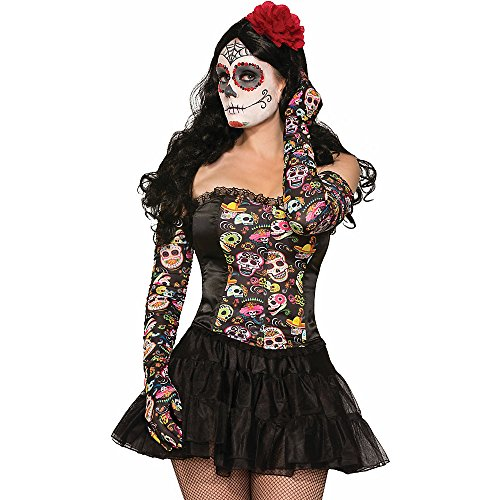 Day of the Dead Long Rouched Gloves - 1