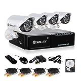 SUNLUXY® Grabador 4 Canales 500GB CCTV DVR IR Video Vigilancia de Seguridad Casa