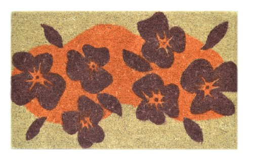 Imports Decor Decorated Coir Doormat, Pretty Flowers Design, 18-Inch by 30-Inch