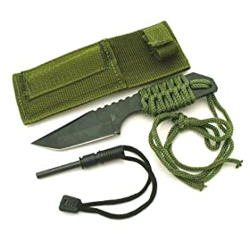 Camping Survival Knife Tanto Magnesium Fire Starter