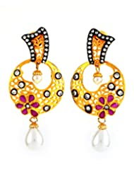 1.1⁰ By Xpressionss Designer Filigree Gold Plated Dangle Earring With Pearl Drops And Zirconia F-XRE0815123