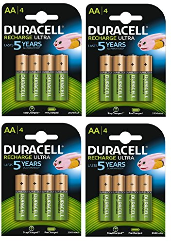Duracell Piles rechargeables AA 2500 mAh Recharge Ultra - Lot de 4 - Charge Pre/Stay starged remplacer 2400
