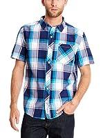 Seventy Seven Camisa Hombre Emb Text Logo (Turquesa)