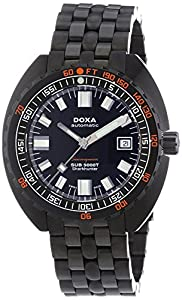 Doxa Sub 5000T Military Edition Sharkhunter PVD Men's Automatic Watch with Black Dial Analogue Display and Black Stainless Steel Gold Plated Bracelet 880.30.101N.11