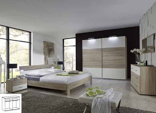 Komplett Schlafzimmer 740 eiche sägerau alpinweiss 160x200cm