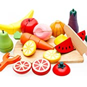 VolksRose® Wooden Cutting Fruit & Vegetable Set - Children Toddler Pretend Wood Play Food Set Toys For Child...