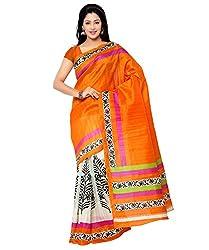 Needle Impression Unique Orange Bhagalpuri Silk Saree (WS86_ORANGE)