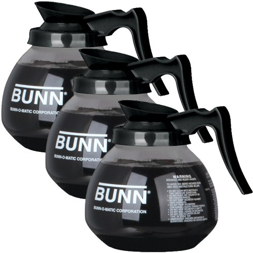 BUNN-Glass-Regular-Coffee-Pot-Decanter-Carafe-12-Cup-Set-of-3-Black