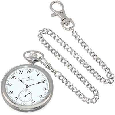 Charles-Hubert Pocket Watch 3756-WA Chrome Plated Open Face