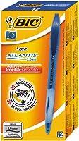 Bic Atlantis Stylo à bille rechargeable rétractable Pointe large Encre Bleue Corps transparent et grip Lot de 12