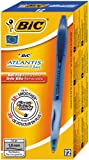 Bic Atlantis Stylo � bille rechargeable r�tractable Pointe large Encre Bleue Corps transparent et grip Lot de 12