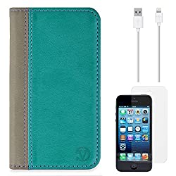 VanGoddy Mary Portfolio Self Stand Case Cover For Apple iPhone 5S / 5G (Blue) + Data Cable + Matte Screen